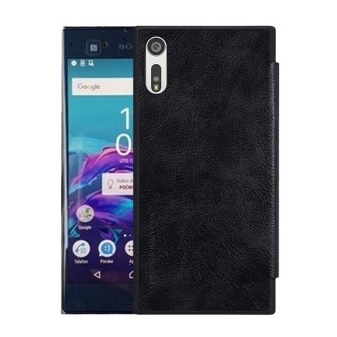 NILLKIN QIN Series For Sony Xperia XZ Business Style Horizontal Flip Leather Case with Card Slot(Black)