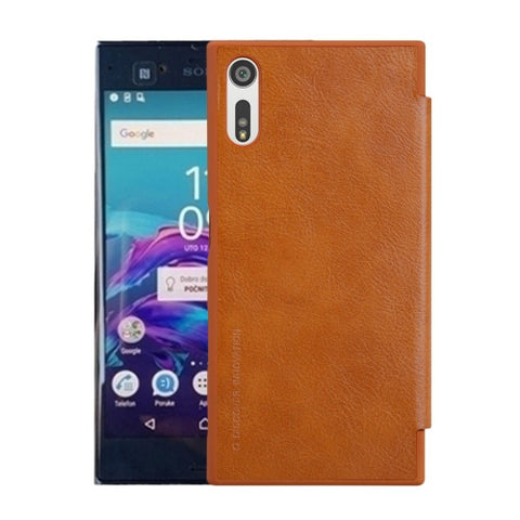 NILLKIN QIN Series For Sony Xperia XZ Business Style Horizontal Flip Leather Case with Card Slot(Brown)