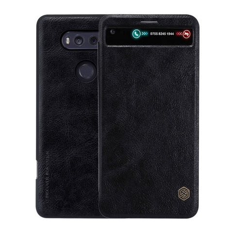 NILLKIN QIN Series For LG V20 Business Style Horizontal Flip Leather Case with Call Display ID & Card Slot & Sleep / Wake-up Function(Black)