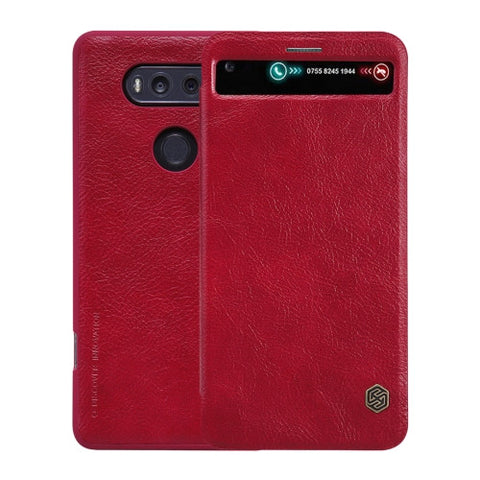 NILLKIN QIN Series For LG V20 Business Style Horizontal Flip Leather Case with Call Display ID & Card Slot & Sleep / Wake-up Function(Red)