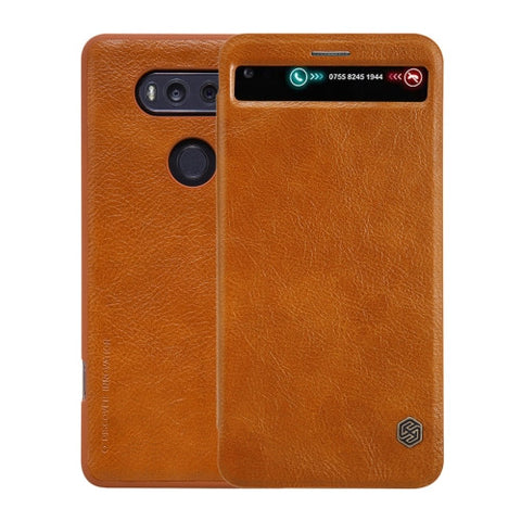 NILLKIN QIN Series For LG V20 Business Style Horizontal Flip Leather Case with Call Display ID & Card Slot & Sleep / Wake-up Function(Brown)