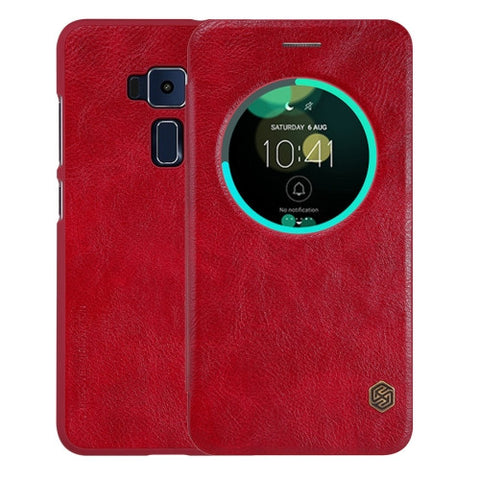 NILLKIN QIN Series For ASUS ZenFone 3 / ZE552KL Business Style Horizontal Flip Leather Case with Call Display ID & Sleep / Wake-up Function(Red)