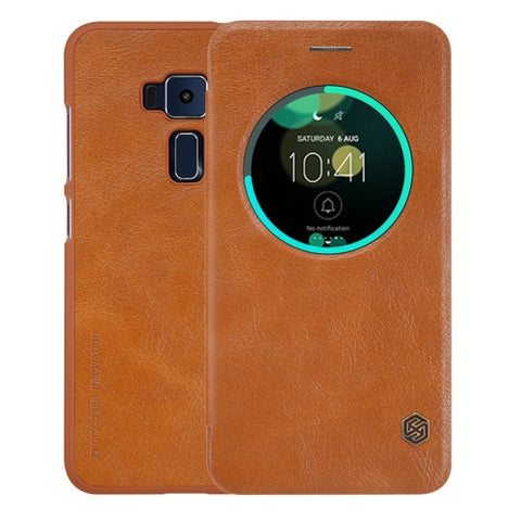 NILLKIN QIN Series For ASUS ZenFone 3 / ZE552KL Business Style Horizontal Flip Leather Case with Call Display ID & Sleep / Wake-up Function(Brown)
