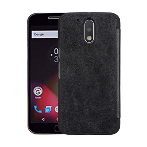 NILLKIN QIN Series For Motorola Moto G Plus (4th Gen.) Business Style Horizontal Flip Leather Case with Card Slot(Black)