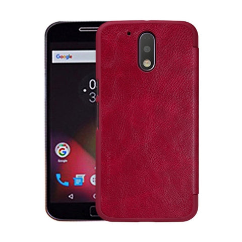 NILLKIN QIN Series For Motorola Moto G Plus (4th Gen.) Business Style Horizontal Flip Leather Case with Card Slot(Red)