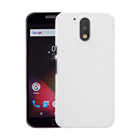 NILLKIN QIN Series For Motorola Moto G Plus (4th Gen.) Business Style Horizontal Flip Leather Case with Card Slot(White)