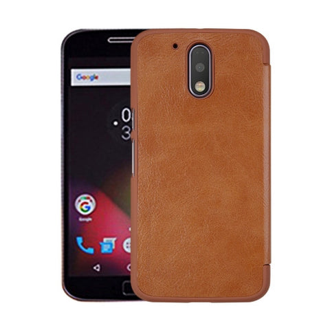NILLKIN QIN Series For Motorola Moto G Plus (4th Gen.) Business Style Horizontal Flip Leather Case with Card Slot(Brown)