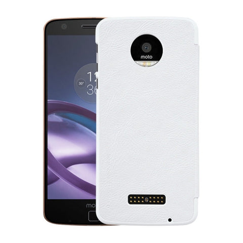 NILLKIN QIN Series For Motorola Moto Z Business Style Horizontal Flip Leather Case with Card Slot(White)