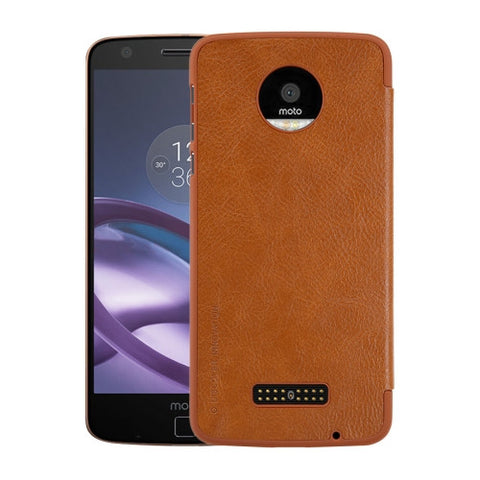 NILLKIN QIN Series For Motorola Moto Z Business Style Horizontal Flip Leather Case with Card Slot(Brown)
