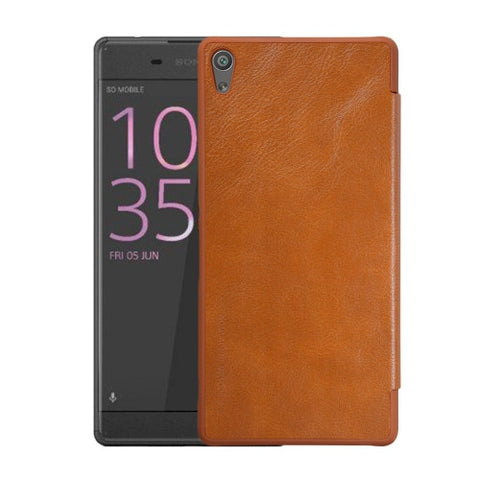 NILLKIN QIN Series For Sony Xperia XA Ultra Business Style Horizontal Flip Leather Case with Card Slot(Brown)