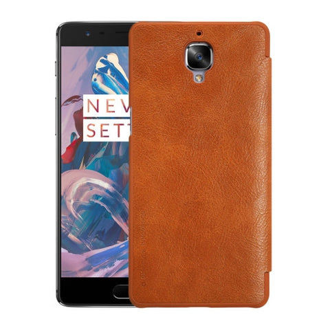 NILLKIN QIN Series OnePlus 3 / A3000 Business Style Horizontal Flip Leather Case with Card Slot(Brown)