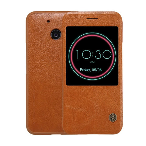 NILLKIN QIN Series For HTC 10 Business Style Horizontal Flip Leather Case with Call Display ID & Sleep / Wake-up Function(Brown)