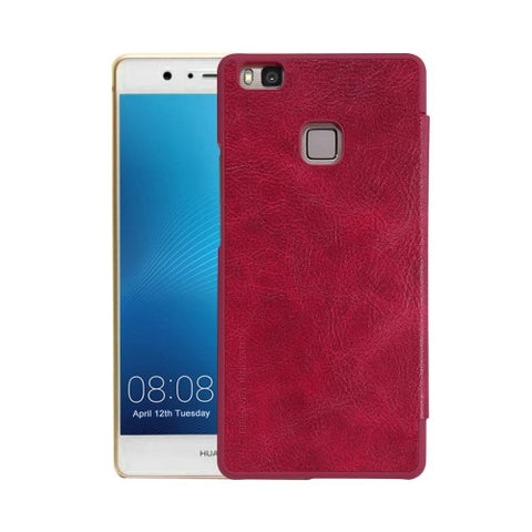 NILLKIN QIN Series Huawei P9 Lite Business Style Horizontal Flip Leather Case with Card Slot(Red)