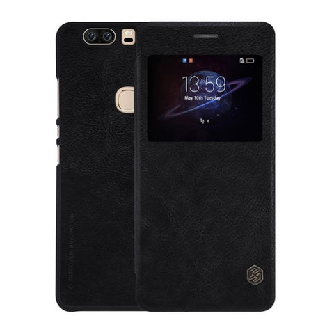 NILLKIN QIN Series Huawei Honor V8 Business Style Horizontal Flip Leather Case with Call Display ID & Sleep / Wake-up Function(Black)