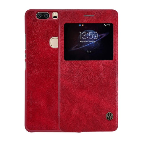 NILLKIN QIN Series Huawei Honor V8 Business Style Horizontal Flip Leather Case with Call Display ID & Sleep / Wake-up Function(Red)