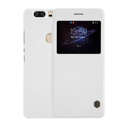 NILLKIN QIN Series Huawei Honor V8 Business Style Horizontal Flip Leather Case with Call Display ID & Sleep / Wake-up Function(White)
