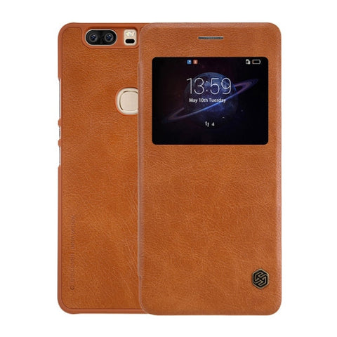 NILLKIN QIN Series Huawei Honor V8 Business Style Horizontal Flip Leather Case with Call Display ID & Sleep / Wake-up Function(Brown)