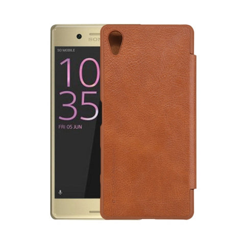 NILLKIN QIN Series For Sony Xperia X Business Style Horizontal Flip Leather Case with Card Slot(Brown)