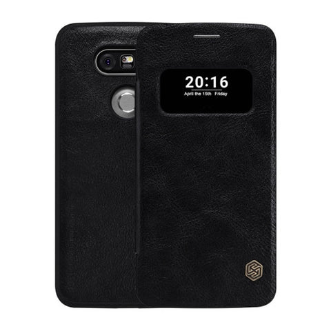 NILLKIN QIN Series for LG G5 Business Style Horizontal Flip Leather Case with Call Display ID & Sleep / Wake-up Function(Black)