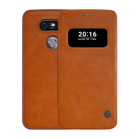 NILLKIN QIN Series for LG G5 Business Style Horizontal Flip Leather Case with Call Display ID & Sleep / Wake-up Function(Brown)