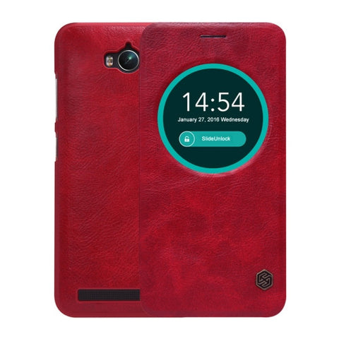 NILLKIN QIN Series For ASUS Zenfone Max / ZC550KL Business Style Horizontal Flip Leather Case with Call Display ID & Sleep / Wake-up Function(Red)