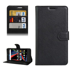 Archos 55 Diamond Selfie Litchi Texture Horizontal Flip PU Leather Case with Holder & Card Slots & Wallet(Black)