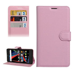 Archos 55 Diamond Selfie Litchi Texture Horizontal Flip PU Leather Case with Holder & Card Slots & Wallet(Pink)
