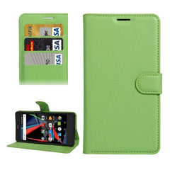 Archos 55 Diamond Selfie Litchi Texture Horizontal Flip PU Leather Case with Holder & Card Slots & Wallet(Green)
