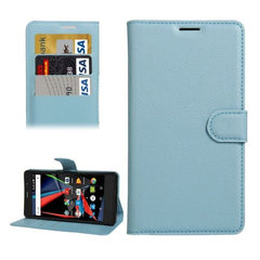 Archos 55 Diamond Selfie Litchi Texture Horizontal Flip PU Leather Case with Holder & Card Slots & Wallet(Blue)