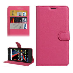 Archos 55 Diamond Selfie Litchi Texture Horizontal Flip PU Leather Case with Holder & Card Slots & Wallet(Magenta)