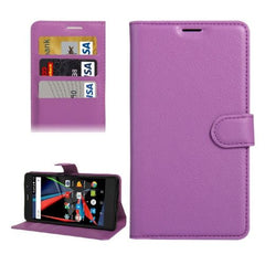 Archos 55 Diamond Selfie Litchi Texture Horizontal Flip PU Leather Case with Holder & Card Slots & Wallet(Purple)