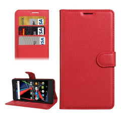 Archos 55 Diamond Selfie Litchi Texture Horizontal Flip PU Leather Case with Holder & Card Slots & Wallet(Red)
