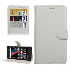 Archos 55 Diamond Selfie Litchi Texture Horizontal Flip PU Leather Case with Holder & Card Slots & Wallet(White)