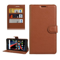 Archos 55 Diamond Selfie Litchi Texture Horizontal Flip PU Leather Case with Holder & Card Slots & Wallet(Brown)