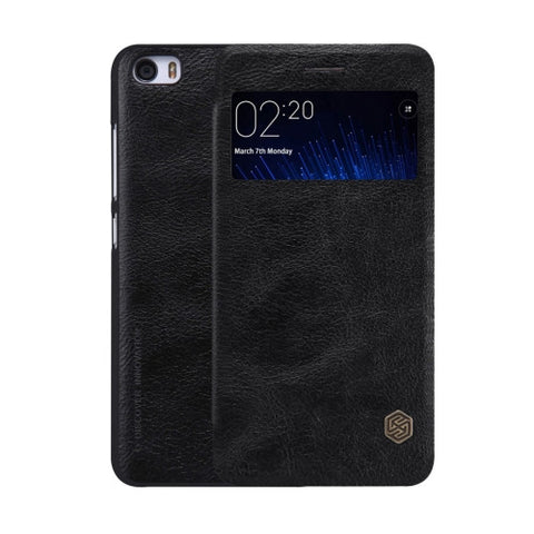 NILLKIN QIN Series Xiaomi Mi 5 Business Style Horizontal Flip Leather Case with Call Display ID & Sleep / Wake-up Function(Black)
