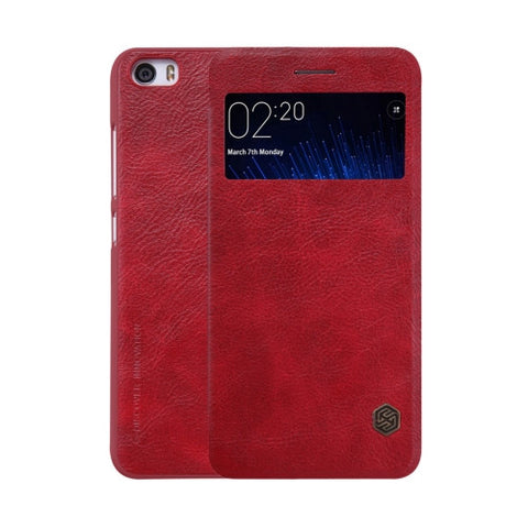 NILLKIN QIN Series Xiaomi Mi 5 Business Style Horizontal Flip Leather Case with Call Display ID & Sleep / Wake-up Function(Red)