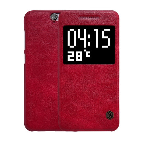 NILLKIN QIN Series for HTC One A9 Business Style Horizontal Flip Leather Case with Call Display ID & Sleep / Wake-up Function(Red)