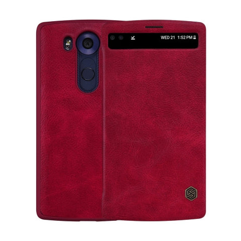 NILLKIN QIN Series for LG V10 Business Style Horizontal Flip Leather Case with Call Display ID & Sleep / Wake-up Function(Red)