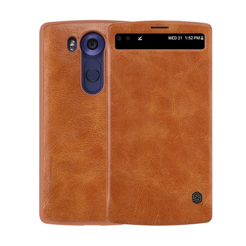NILLKIN QIN Series for LG V10 Business Style Horizontal Flip Leather Case with Call Display ID & Sleep / Wake-up Function(Brown)