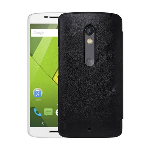 NILLKIN QIN Series for Motorola Moto X Play Business Style Horizontal Flip Leather Case with Card Slot(Black)
