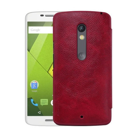 NILLKIN QIN Series for Motorola Moto X Play Business Style Horizontal Flip Leather Case with Card Slot(Red)
