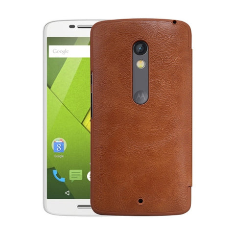 NILLKIN QIN Series for Motorola Moto X Play Business Style Horizontal Flip Leather Case with Card Slot(Brown)