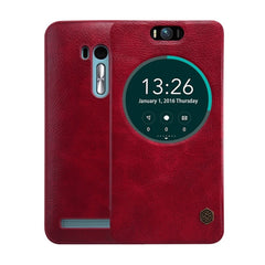 NILLKIN QIN Series for Asus Zenfone Selfie / ZD551KL Business Style Horizontal Flip Leather Case with Call Display ID & Sleep / Wake-up Function(Red)