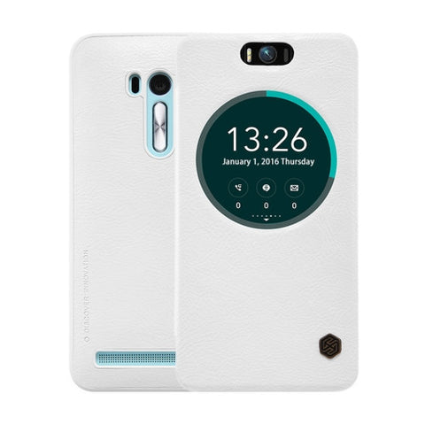 NILLKIN QIN Series for Asus Zenfone Selfie / ZD551KL Business Style Horizontal Flip Leather Case with Call Display ID & Sleep / Wake-up Function(White)