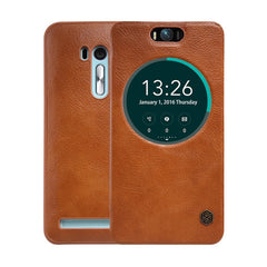 NILLKIN QIN Series for Asus Zenfone Selfie / ZD551KL Business Style Horizontal Flip Leather Case with Call Display ID & Sleep / Wake-up Function(Brown)