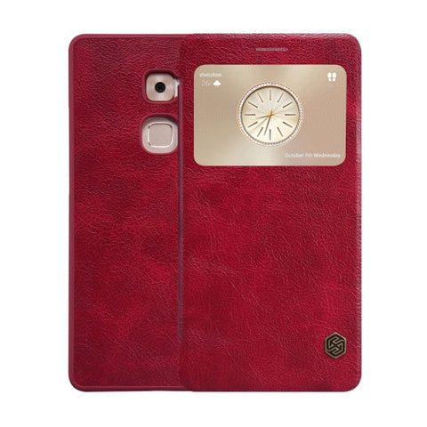 NILLKIN QIN Series Huawei Mate S Business Style Horizontal Flip Leather Case with Call Display ID & Sleep / Wake-up Function(Red)