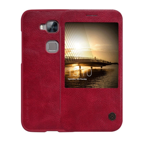 NILLKIN QIN Series Huawei Maimang 4 Business Style Horizontal Flip Leather Case with Call Display ID(Red)