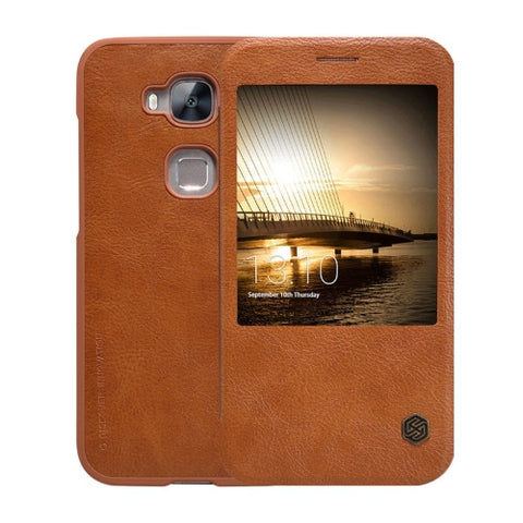 NILLKIN QIN Series Huawei Maimang 4 Business Style Horizontal Flip Leather Case with Call Display ID(Brown)