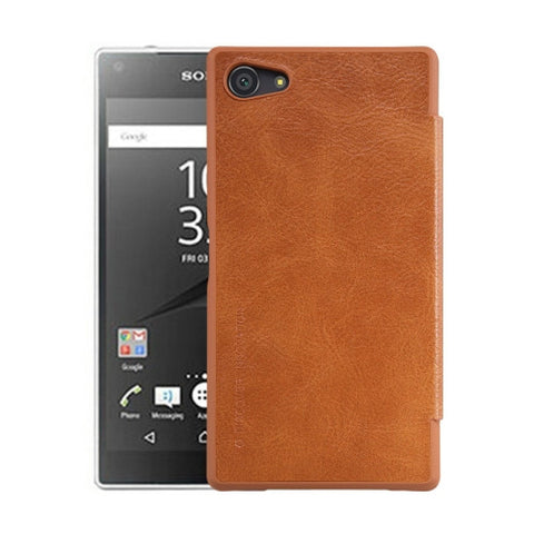 NILLKIN QIN Series for Sony Xperia Z5 Compact Business Style Horizontal Flip Leather Case(Brown)