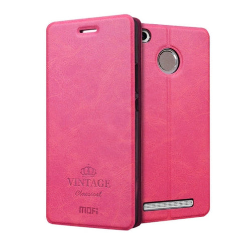 MOFI VINTAGE Xiaomi Redmi 3 Pro Crazy Horse Texture Horizontal Flip Leather Case with Card Slot & Holder(Magenta)